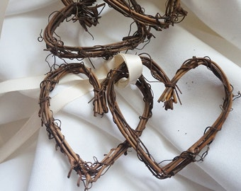 Rustic Bedroom Decor, Grapevine Hearts 2 Sets