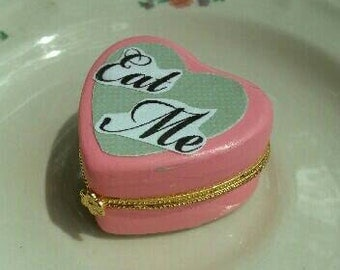 Pink pastel Eat Me cake Alice in Wonderland ceramic heart shaped  trinket box unique vintage style gift