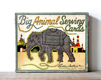 Vintage animal lacing cards / retro nursery wall decor / retro home decor / paper ephemera for altered art / mid century animal sewing cards