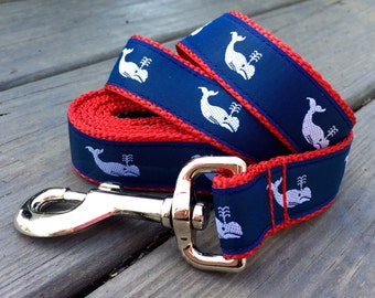 Vineyard Whales Navy & Red dog leash