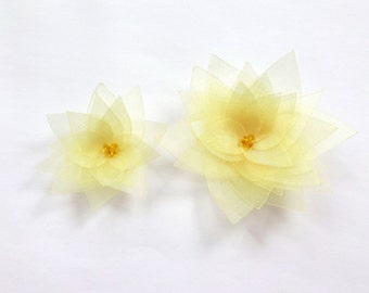 2 Yellow Organza Flowers Embellishment