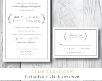 Cumberland Gap Collection | Wedding Invitation and additional pieces |  Printed or Printable by Darby Cards