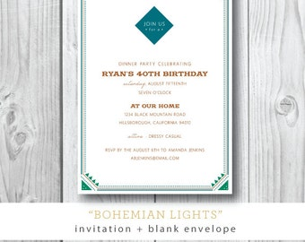 Bohemian Lights Printed Invitation   Engagement Dinner Party   Birthday   Invitation   Printed or Printable by Darby Cards