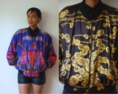 Vtg Reversible Baroque Print Gold Black Chain Purple Zip Bomber Jacket