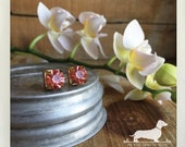 CLEARANCE! Blush Gem. Post Earrings -- (Pink, Vintage-Style, Gold, Pink Studs, Small, Orchid, Gemstone, Bridesmaid Jewelry, Gift Under 5)