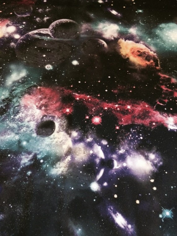 Black galaxy cosmos nebula 4 way stretch heavy poly lycra for Nebula fabric by the yard