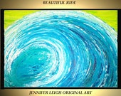 Sale Abstract Painting Large Original Modern Contemporary Canvas Art Yellow Blue Wave Ocean 36x24 Palette Knife Texture Oil Acrylic J.LEIGH