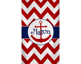 Personalized Custom Red Chevron Anchor Beach Towel 30x60