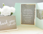 Green and Gold Foil invitation set