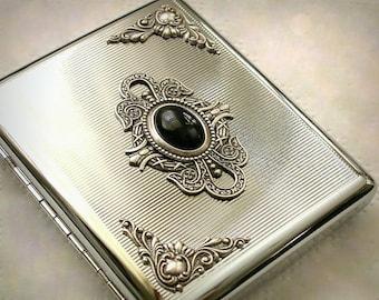 Men Cigarette Case for  King Size & 100's Silver Cigarette Case Cigarette Holder Vintage Style Smoking Accessories Black Onyx on Silver Case