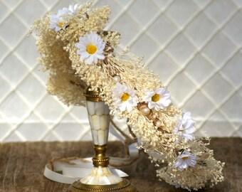 Daisy flower Boho crown, wedding headpiece, woodland flower, bridal hair flower, rustic wedding, bridal headband head garland