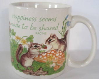 Vintage Coffee Mug - Happiness seems made to be shared