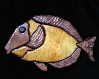 Intarsia Wall Hanging art, Tropical Fish Intarsia, Wood art hanging, wood working intarsia