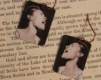 Billie Holiday earrings mixed media jewelry Jazz jewelry Music jewelry