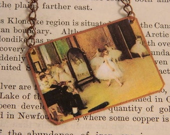 Degas necklace Art jewelry Ballet Class mixed media jewelry