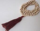 Neem Japa Mala Chanting Necklace Hand Knotted 108 Neem Beads with Maha Mantra Japa Mala Recycled Silk Sari Bag and Chanting Book  JMP0015