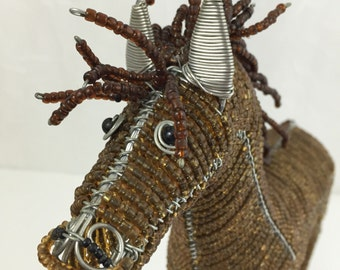 Vintage Glass Beaded Horse Statue CRAZY HORSE Wire and Bead Brown horse