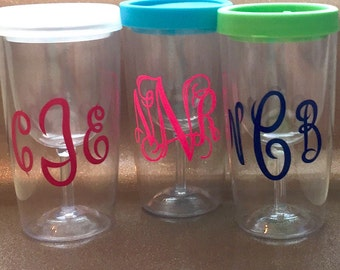 Monogrammed Plastic Sippy Cup Wine Glass Tumbler