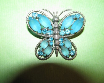 Vintage Silver Tone Blue Rhinestone Butterfly Brooch Pin Pendant