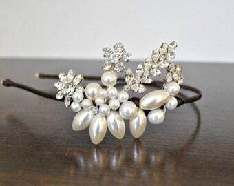 Wedding headband bride's headband side headpiece headdress diamante pearl vintage bridal