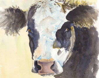 Angus cow watercolor painting print cattle art print canvas farm art animal watercolor animal print cow canvas ranch art cow art kitchen art