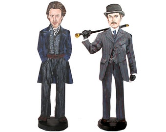 Sherlock Holmes and Dr Watson Hand Painted 2D Art Figurines