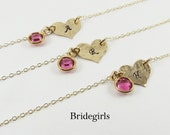 Bridesmaid Personalized Heart Necklace,Gold Heart Necklace,Bridal Jewelry,Birthstone Heart Necklace,Bridesmaid Jewelry,Maid of Honor,Wedding