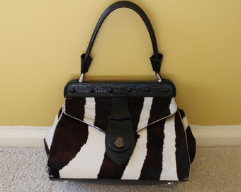 Vintage 90's Valentino Brown White Zebra Bag Purse