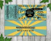 Rock n Roll Baby shower Ticket Invitation, Printable Ticket Invitation, Rock-a-Bye Baby Shower Invite, Rock N Roll Baby Shower with Guitar