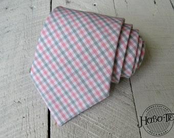Pink and Gray Tattersall Necktie~Cotton Necktie~Anniversary Gift~Wedding Tie~Mens Necktie~Cotton Tie~Mens Tie~Boys Necktie~Boys Tie~