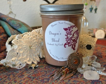 Dragon's Blood All Natural Scented Soy Candle Glass Jar