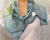 Hand painted silk scarf w...