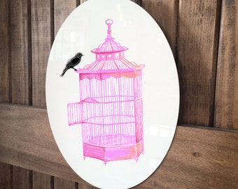 """Pink Birdcage Illustration on a 14"""" High Gloss Metal Oval by artist Brooke Figer"""
