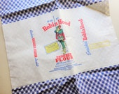blue and white gingham check print vintage full feedsack fabric with original label