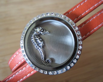 Genuine leather locket wrap bracelet Locket is STAINLESS STEEL with crystals, large size available in Aqua, Orange, Rich Red or Black