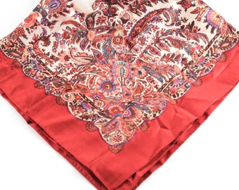 Vintage Paisley Floral Scarf Fractal Red Orange Tones Liberty of London 100% Silk 1950s