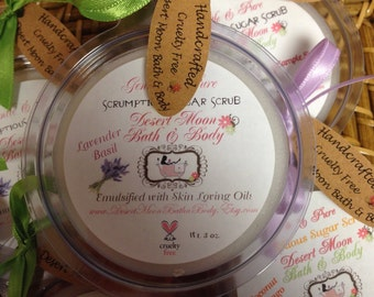 Emulsified Sugar Scrub with Skin Loving Oil. More like a Lotion. Organic Oils. Perfect Showet Gift