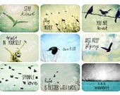 Journal Planner Cards Download, Pocket Cards, Inspirational Quote, Birds, Scrapbooking, Aceo Printable, Digital Collage Sheet, Art Cards