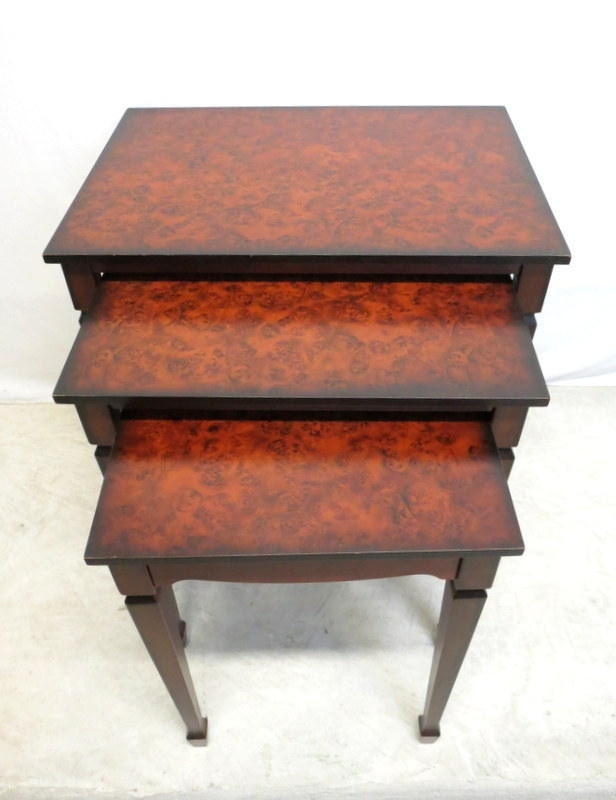 Nesting Snack Tables ~ Antique style burled walnut nest of tables nesting snack