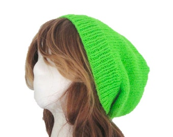 Bright Green Slouch Hat, Slouchy Beanie, Hand Knit Knitted, Women, Men, Teens, Neon