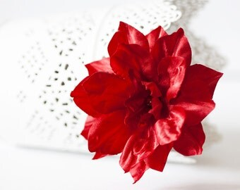71411_Red wedding, Flower barrette, Hair piece wedding, Hair clips flowers, Floral hair accessories, Ruby wedding, Hair accessories flowers.