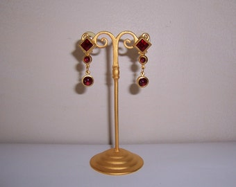 Vintage, Jeweled Etruscan Style, Dangle, Pierced Earrings,18K Gold Plated, Natasha Stambouli, Semi Precious Stones