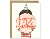 Birthday Card - Bubble Gum Birthday Card Birthday Party Card Cute Birthday Blowing a Bubble Card Birthday Card by Hello Small World