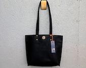 Black Kodiak Leather Tote / Pink Stitching & Stripes