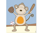 Nursery art baby nursery decor nursery print Kids art illustration print - Monkey sports basketball baseball
