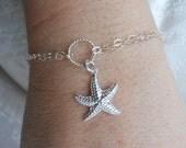 Sterling Silver Starfish Bracelet, Beach Jewelry, Summer Bracelet, Summer Wedding, Nautical Jewelry, Double Strand Bracelet, Adjustable
