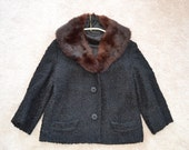 Vintage Black Boiled Wool Outerwear Jacket Fur Collar Size M Dan Millstein New York Paris