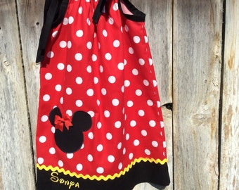 Minnie Mouse Pillowcase Dress, Minnie Mouse Dress, Minne Mouse Birthday Dress