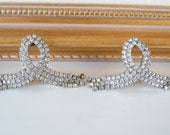 Vintage Rhinestone Shoe Clips Large Clear Rhinestones Ribbon Loop Dangle Silver Shoe Clips