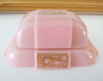 Vintage Pink Art Deco Celluloid Ring Box Display Ring Holder